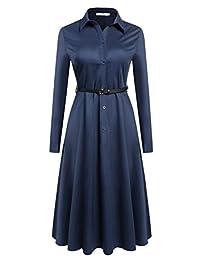 Meaneor Women's 1950s Long Sleeve Swing Vintage Party A-Line Dresses w/ Belt