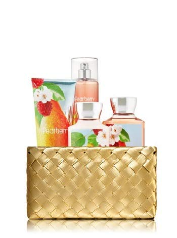 Bath and Body Works PEARBERRY Gold Woven Basket Gift Kit