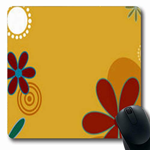 Pandarllin Mousepads Turquoise Flower Sun Funky Appealing Hip Oblong Shape 7.9 x 9.5 Inches Oblong Gaming Mouse Pad Non-Slip Rubber Mat ()
