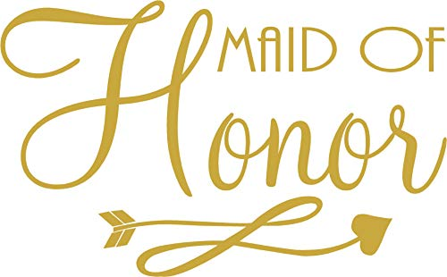 Maid of Honor - Bachelorette Heat Transfer Iron on Stencils for Wedding (Gold)