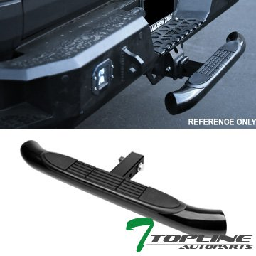 (Topline Autopart Universal 3 Inch Black Trailer Tow Mount Rear Hitch Step Bar Bumper Guard For 2