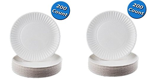 Nicole Home Collection 100 Count Everyday Dinnerware Paper Plate, 6-Inch, White (200 Count) (2-pack)