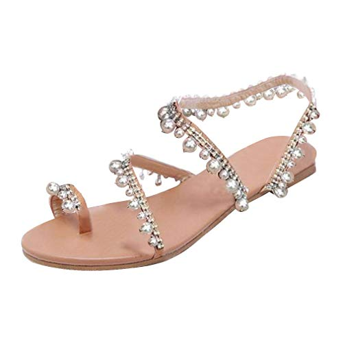 XMWEALTHY Women's Strappy Flat Sandals Bohemia Jeweled Toe Ring Gladiator Sandals Roman Shoes Silvery Large US 9