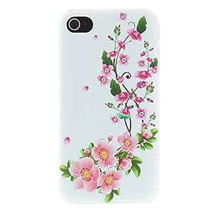 CL - Flores florecientes del Mate Patrón de ratán Diseñado estuche rígido de la PC para el iPhone 4/4S