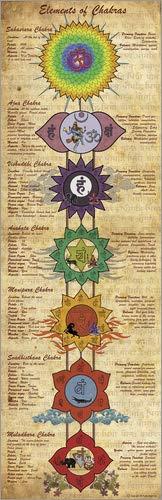 System of chakras yoga poster by Sharma Satyakam Acrylic print 20 x 60 cm