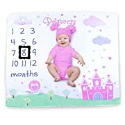 Baby Monthly Milestone Blanket Photography Props Backdrop for Newborn Boy Girl, Infant Newborn Baby Swaddling Month Blanket for Photography New Mom Baby Shower Gifts -Princess