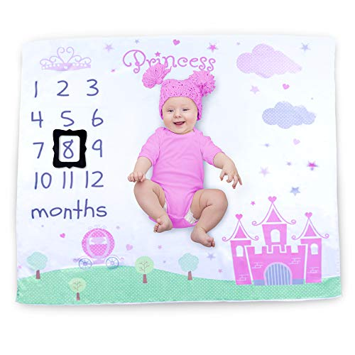 Cocoon Kids Baby Monthly Milestone Blanket Photography Props Backdrop for Newborn Boy Girl, Infant Newborn Baby Swaddling Month Blanket for Photography New Mom by Cocoon Kids