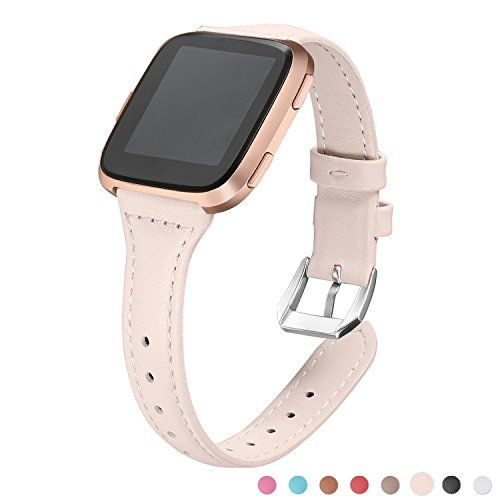 bayite Bands For Fitbit Versa, Blush Pink (5.3''-7.8''), Slim Genuine Leather band Replacement Accessories Strap for Versa Women by bayite
