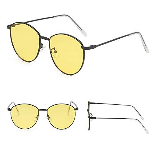 Neu Unisex Herren Damen Gelb Schwarz Sonnenbrille Mode Retro Vintage