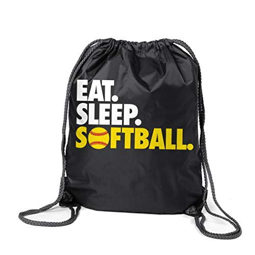 ChalkTalkSPORTS Softball Sport Pack Cinch Sack | Eat Sleep Softball | Black ()
