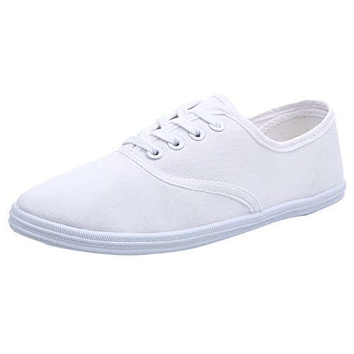 Rosesummer Toile Lacets Casual Espadrilles Plimsoll Chaussures (blanc)