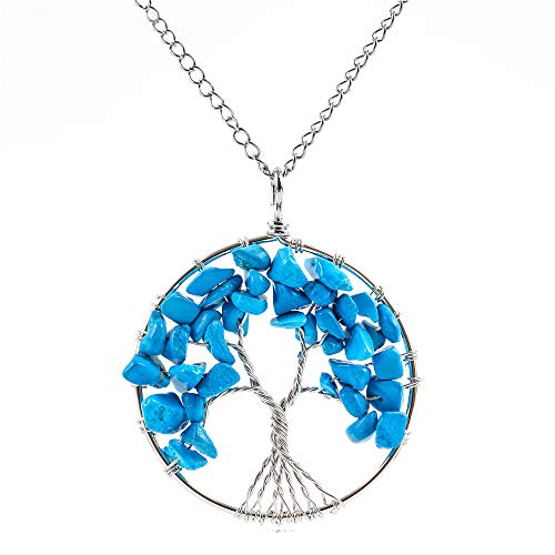 Tree of Life Natural Turquoise Howlite Gemstone Pendant Necklace Healing Crystals Chakra Gem Stone 26 inch Great Gift GGP9-6