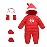 Baby Winter 3 Piece All in One Hooded Snowsuit Puffer Romper Thick Down Jumpsuit Sleepsuit Bodysuit Padding Onesie Warm One-Piece Gloves Shoes Red Size 110