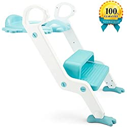 Potty Training Seat, with Step Stool Ladder for Kids and Baby, Non-Slip Kids Toilet Training Seat, Toddlers Potty Ring for Round and Oval Toilets