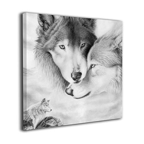 Canvas Wall Art Prints Wild Animal Wolves Couple Travel From Snow Desert To Deep Forest Picture Paintings Contemporary Home Decoration Giclee Artwork Wood Frame Gallery Stretched 16