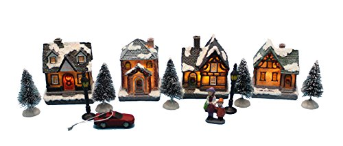 Lighting up DIY Christmas Doll Figurine Tiny Resin House Village (House village building Set of 4) (Christmas Villages Sets)