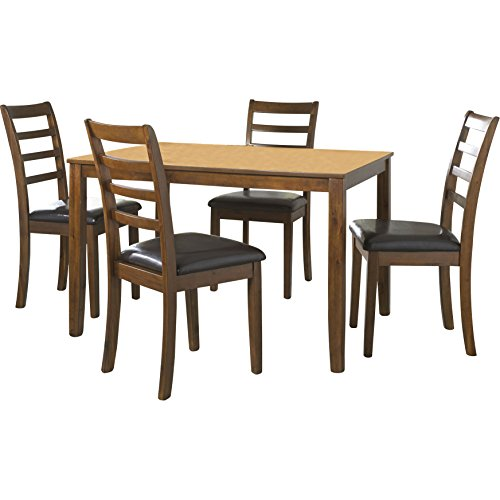 5 Piece Dining Set with 1 Table and 4 Chairs Upholstered in Black Vinyl Traditional Canted Corner Accents in Darker Oak Plus FREE GIFT