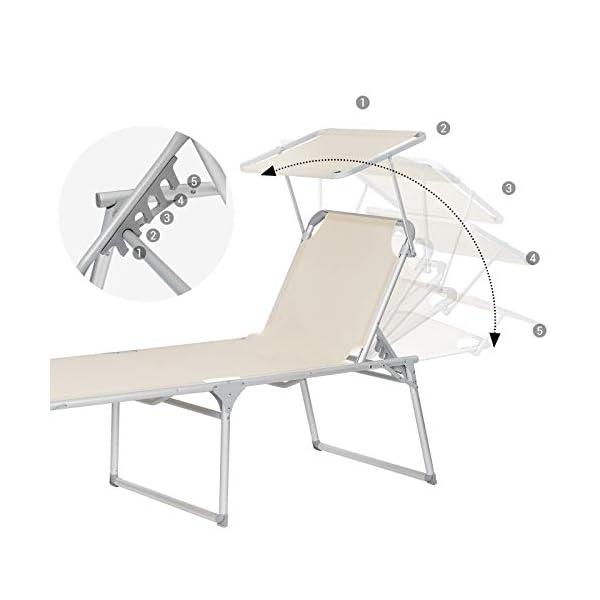 41N0wGCcNPL SONGMICS Sonnenliege, Liegestuhl, Gartenliege, extra groß, 65 x 200 x 48 cm, bis 150 kg belastbar, mit Sonnendach…