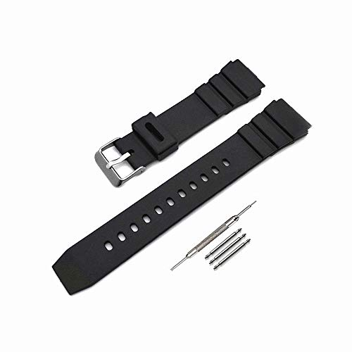 Men's Women's Black Silicone 18 mm 20 mm 22 mm Watch Strap (20 mm, Black)