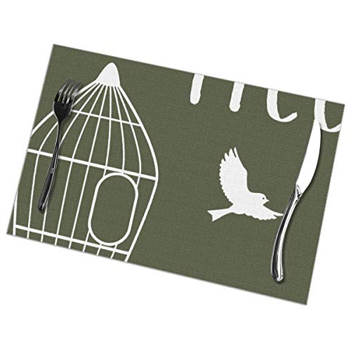 Eleanore Johnson Placemats Birds Cage Silhouette Washable Placemats for Dining Table Set of 6 Kitchen Table Mats Non Slip Wipe Clean