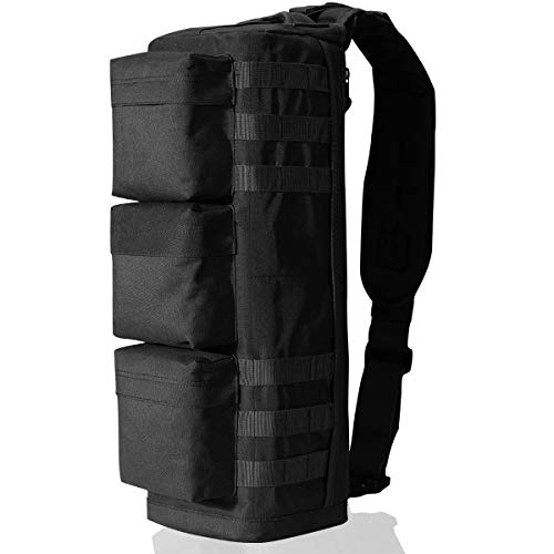 G4Free Tactical Sling Bag Chest Pack, Military Assault Messenger Backpack for Gym Hiking Camping with MOLLE System (Black)