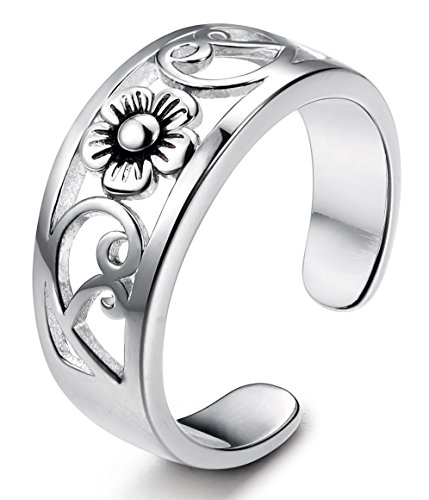 Flower Adjustable Toe Ring (FUNRUN JEWELRY Sterling Silver Flower Toe Band Ring for Women Adjustable)