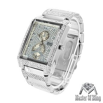 Platinum Geneva Mens Watch Rectangle Face Analog Steel White Gold Tone Iced Out (Iced Out Square Watch)