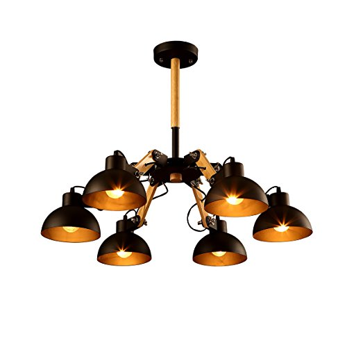 Windsor Home Deco, WH-61141, Industrial Ceiling Lamp with Metal Lamp Shades, 6 Lights Chandelier Indoor, 16.5