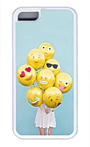 Brian114 iPhone 5C Case, iPhone 5C Cases - Anti-Scratch White Soft Back Bumper for iPhone 5C Emoji Ballons Shock-Absorption Rubber Case iPhone 5C