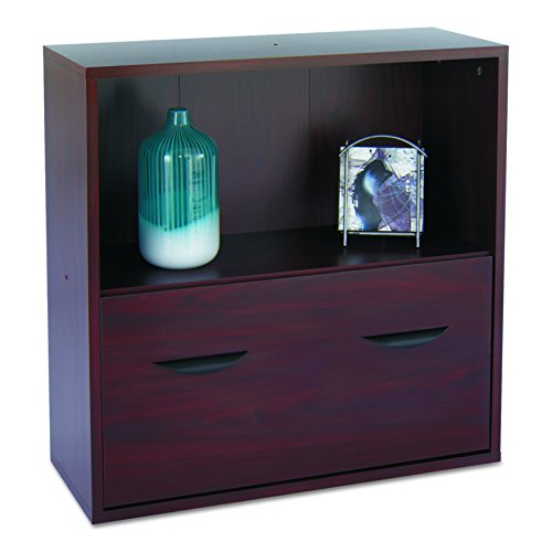 Safco Products 9445MH Apres Modular Storage Shelf with Lower File Drawer, Mahogany