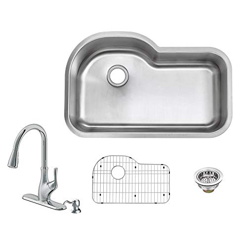 All-in-One Undermount 18-Gauge Stainless Steel 32 in. Euro Style Single Bowl Kitchen Sink with Kitchen ()