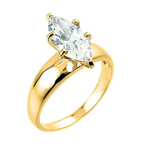10k Yellow Gold Six-Prong Solitaire Marquise CZ Engagement Ring (Size (Gold Six Prong Solitaire)