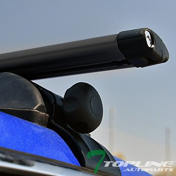 "Topline Autopart Universal 50"" Window Frame Oval Style Aluminum Roof Rack Rail Cross Bars (Black)"