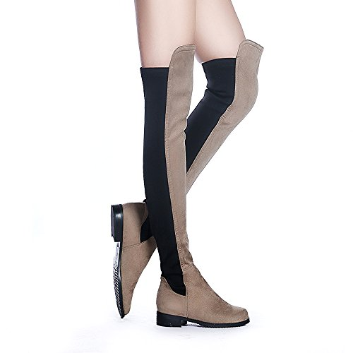 Low Faux Snow Flat Taupe The High Stretch Heel Boots Over Shoe'N Tale Thigh Women high Suede Knee 6FXEqIq