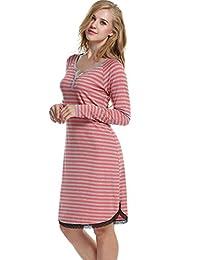 Avidlove Womens Stripes Loose Dresses Cotton Sleepshirt Casual nightgown