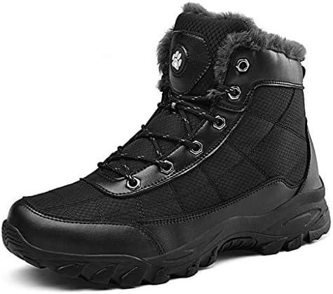 冬スーパー暖かい男子 雪のブーツ古典的なレースアッププラスベルベット快適な屋外の半長靴を着用黒のスリップ (色 : 黒, サイズ : 28.5 CM)