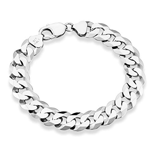 MiaBella 925 Sterling Silver Italian 12mm Solid Diamond-Cut Cuban Link Curb Chain Bracelet, 8
