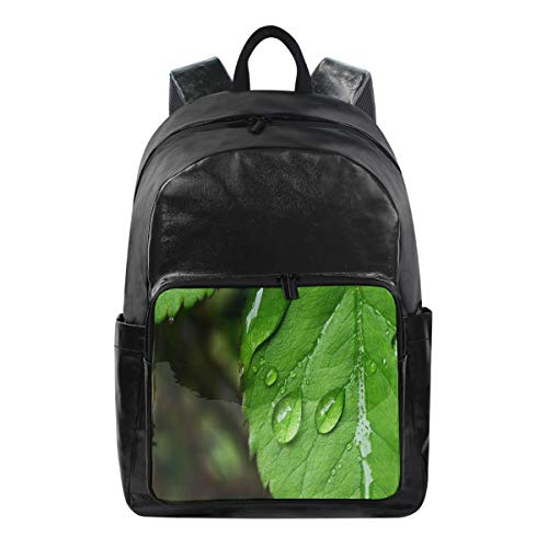 Backpack Water Droplets On Green Leaves Casual Laptop Daypack School Student Book ()