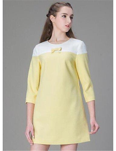 PU&PU Robe Aux femmes Ample Simple,Couleur Pleine Col Arrondi Au dessus du genou Polyester , yellow-m , yellow-m