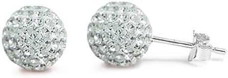 Clear Disco Ball Sterling Silver Earrings