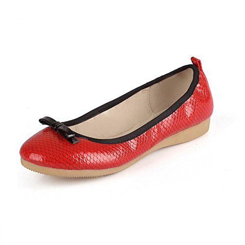 On Pull Women shoes Odomolor Materials Rotondi Punta Red Solid Blend Bassi Chiusa Shoes Tacchi vqqzgw