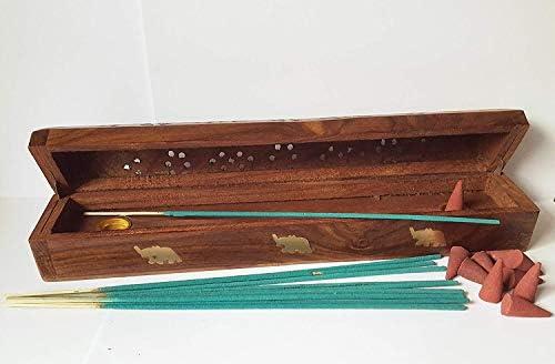 Joss Stick Cono de madera para incienso con caja para quemador de humo + 10 varillas de incienso + 10 conos de incienso: Amazon.es: Bricolaje y herramientas