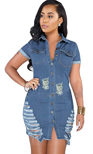 - Hotheart Women's Long Sleeve Lapel Button Ripped Distressed Holes Bodycon Sexy Nightclub Party Denim Dress (XXL, Short Sleeve)