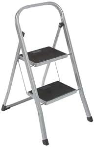 Top Hit 251215 - Escalera plegable de acero con 2 escalones con apoyo antideslizante