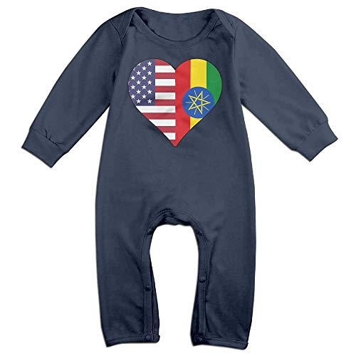 Newborn Baby Long Sleeve Jumpsuit Half Ethiopia Flag Half USA Flag Love Heart Baby Rompers Navy]()