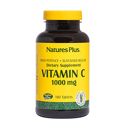 Natures Plus Vitamin C - 1000 mg Ascorbic Acid, 180 Vegetarian Tablets - High Potency Immune Support Supplement with Rose Hips, Antioxidant - Gluten Free - 180 Servings