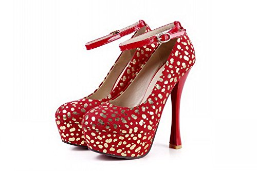 VogueZone009 Womens Closed Round Toe High Heel Platform PU Soft Material Assorted Colors Pumps Red MpuJgM
