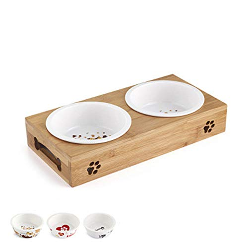 Popular Cat Dog Pet Stainless Steel/Ceramic Feeding and Drinking Bowls Combination with Bamboo Frame Non Slip,B,S
