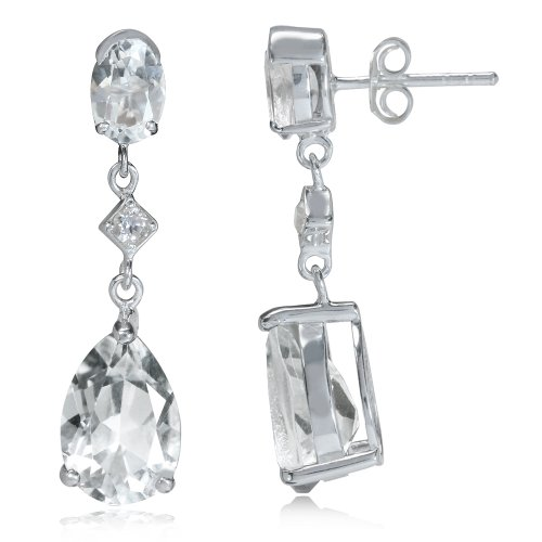 - 9.34ct. Genuine White Topaz 925 Sterling Silver Drop Dangle Post Earrings