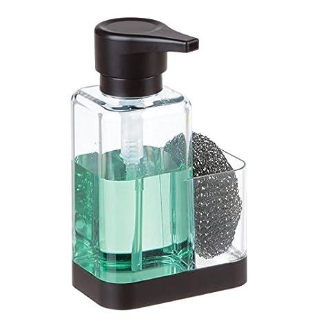 mDesign Dosificador de jabón con soporte para esponja – Dispensador de jabón de manos para fregaderos
